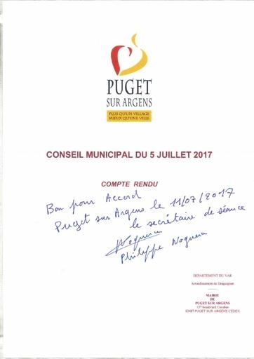 Compte rendu du Conseil municipal du 5 juillet 2017
