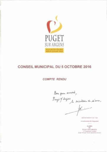 Compte rendu du Conseil municipal du 5 octobre 2016