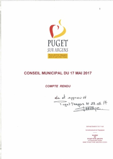 Compte rendu du Conseil municipal du 17 mai 2017