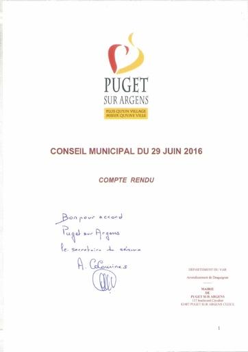 Compte rendu du Conseil municipal du 29 juin 2016