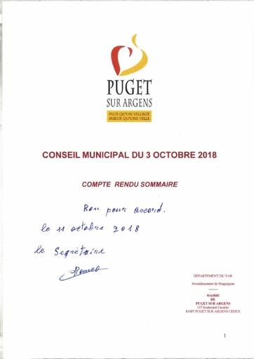 Compte rendu Conseil municipal du 3 octobre 2018