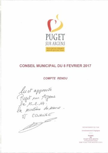 Compte rendu du Conseil municipal du 8 février 2017