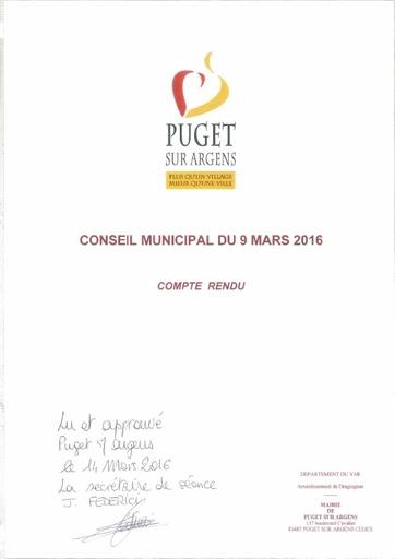 Compte rendu du Conseil municipal du 9 mars 2016
