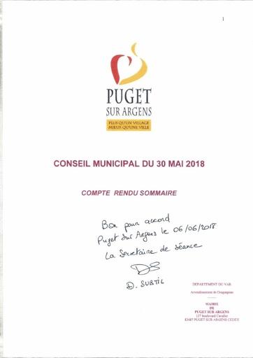Compte rendu Conseil municipal du 30 mai 2018