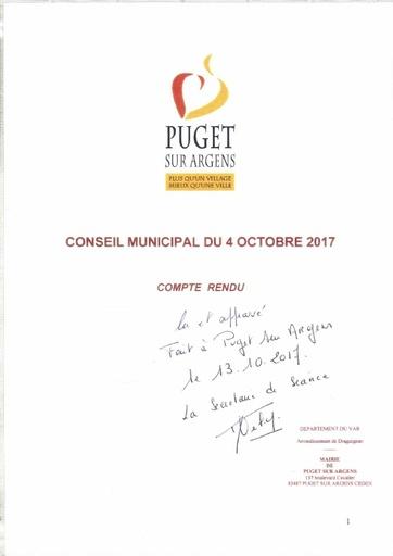Compte rendu du Conseil municipal du 4 octobre 2017