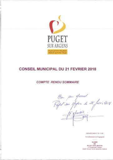 Compte rendu Conseil municipal du 21 février 2018